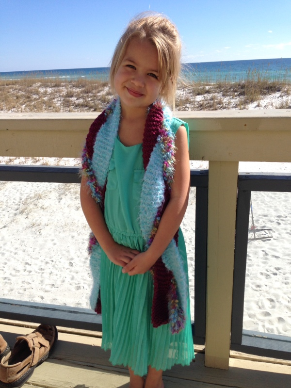 My youngest niece modeling her scarf.